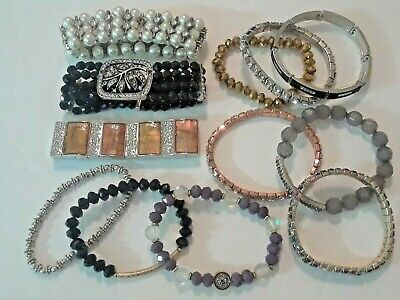 12 Beautiful stretchy bracelets with crystal beads, stones, sea glass, leather
