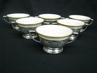 6 Rare Vintage Lenox Bouillon Soup Bowls/Cups in Sterling Handled Holders; Deco