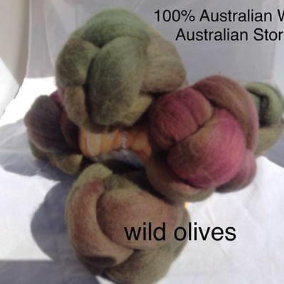 wool roving Wild Olive 10g -100g 29 or 22 micron