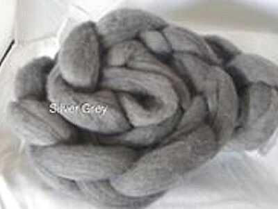 wool roving Silver Grey 10g -100g 29 or 22 micron