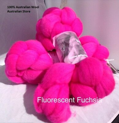 wool roving Fluorescent Fuchsia 10g -100g 29 or 22 micron
