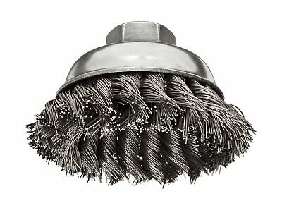 Weiler Wire Cup Brush, Threaded Hole, Steel, Partial Twist Knotted, Single Ro...