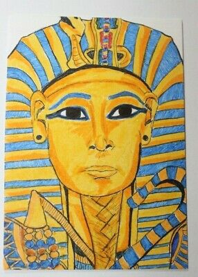 ACEO Ancient Egypt King Tut original art trading card Color Ink Sketch New