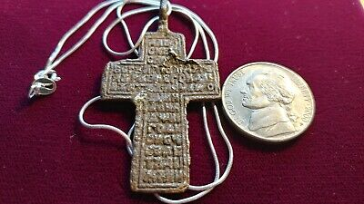 "1400's  Byzantinian Golgatha Bronze Cross on a 20"" 925 Italy 925 Silver Chain."