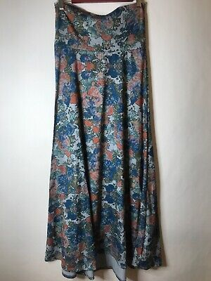 d16e5df4c8 Lularoe Small Maxi Vintage blue floral pattern MODEST Long Skirt USA MADE