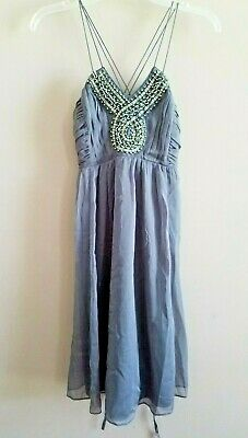 3ebbc895c30bd Motherhood Maternity Dress Gray Chiffon Beaded Neckline Fancy & Flowing  Small