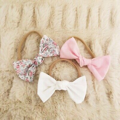 3 X Bow Headband Pack White Pink Floral Baby Newborn Girl Fabric Nylon Cotton