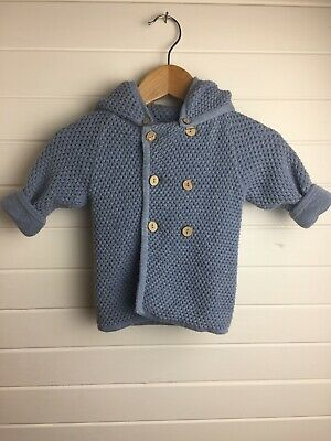 Seed Baby Knit Jacket with Removable Hood - Size 000 / 0-3 months (#D1204)