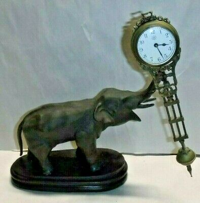 Junghans-Style Mystery Elephant Swinger Desk Mantel Clock Rare Boudoir Working