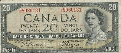 Canadian 1954 Devil Face $20 bill Serial # C/E 8080131