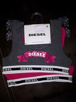 DIESEL 2 Girls Pack Sports Bras Age 8/10 Years New with tags