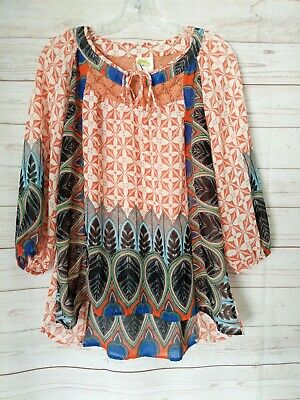 c96f9a5807daee FIG AND FLOWER Anthropologie Short Sleeve Peasant Top Multi-Color ...