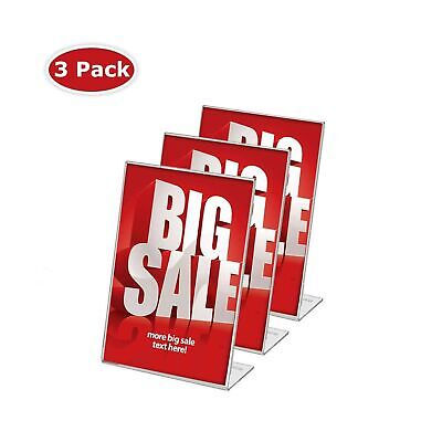Display4top 3 Pack, 8.5 x 11 Inches Displays Clear Acrylic Slanted Sign Holde...