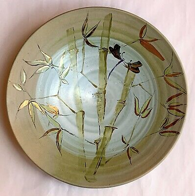 """Dragonfly & Bamboo Conical Footed Bowl w Green Glazes. Signed Art Pottery 13"""""""