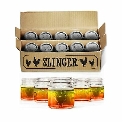 The Rooster Mason Jar Shot Glasses Set - Mini Mason Jars with Lids Featuring ...