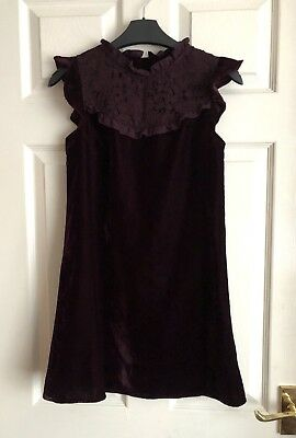 Next Girls Beautiful Purple Velvet & Lace Dress Perfect For Parties Size 11 Yrs