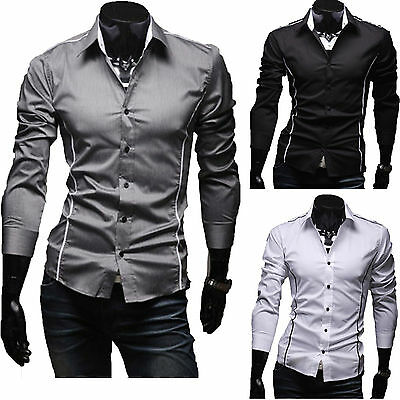 Men's Luxury Long Sleeve Shirt Casual Slim Fit Formal Business Dress Shirts Tops