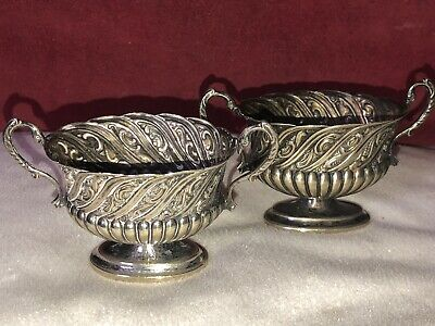 Antique Pair of Silver Plated Salts Half Reeded & Scrolled With Bird Handles