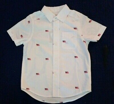 The Children's Place Boys Size: 7/8 White Button Down Shirt W/American Flags