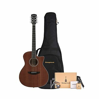 Orangewood 6 String Acoustic Guitar Pack, Right, Mahogany, Cutaway (OW-REY-M-...