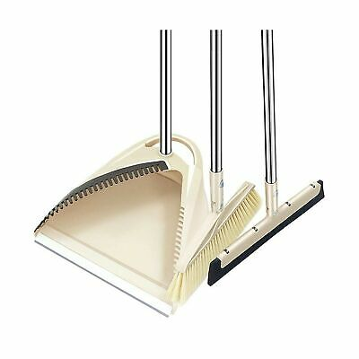 SLC Broom and Dustpan set, 3 Piece Grips Sweep Set with Dust Pan, Floor Squee...