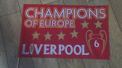 "LIVERPOOL 6 TIMES CHAMPIONS OF EUROPE 31""x 25"" FREE 1ST CLASS DESPATCH"