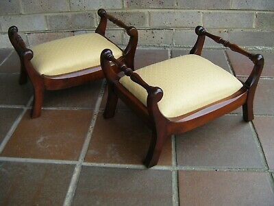 A Pair of Footstools. Georgian / Regency Style. Mahogany. Upholstered.