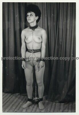Petite Brunette In Chains / Pantyhose - Small Breast BDSM (Vintage Photo B/W ~19