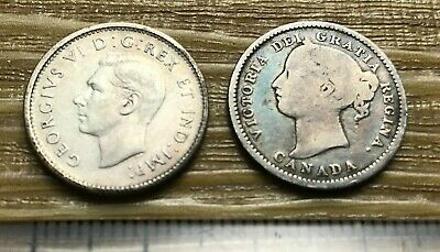 Canada Victoria 1893 10 Cents and George VI 10 Cents (my ref #50)