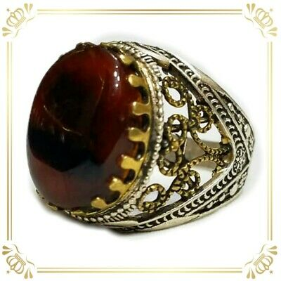 Yemeni Silver ring with Kabdi Red agate aqeeq AKIK 9 خاتم عقيق يمني كبدي