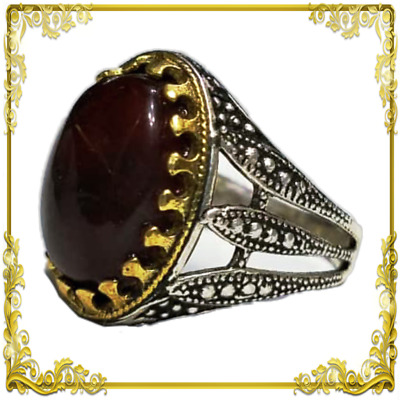 Yemeni Silver ring with Dark Kabdi agate Akik aqeeq 8.5 خاتم فضة عقيق يمني كبدي