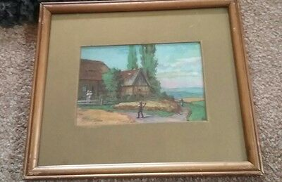 Small antique watercolour unsigned  ,beautiful nostalgic finely naive