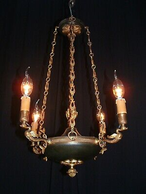 Antique French swan Empire style bronze chandelier 4 arms