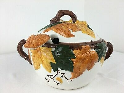 Lidded Tureen With Ladle - Autumn Leaves - Hand Painted