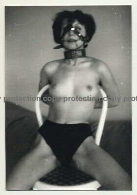 Topless Brunette Tied To Chair / Face Mask - BDSM (Vintage Photo B/W ~1960s)