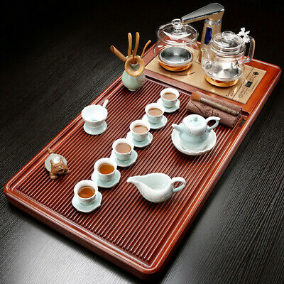 Luxury tea tray with induction cooker Rose wood tea tray with tea set pot cups
