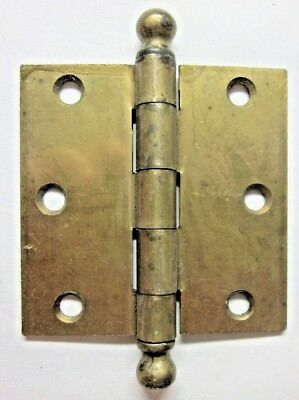 """1 Antique McKinney 3"""" Mortise Door Hinge Ball Tips Finials Brass Plated Square"""