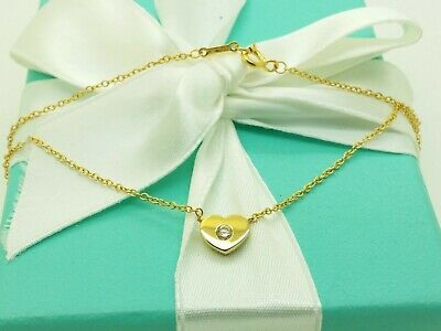 cfd64d5740729 Tiffany & Co Paloma Picasso 18K Yellow Gold Heart & Diamond Pendant 16'  Necklace