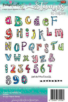 Polkadoodles Funky Alphabet Stamp Set A5 Clear Stamps PD7879  NEW