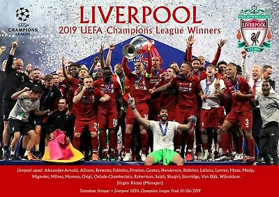 Liverpool champions league winners 2019 poster- A3 - 420mm x 297mm new