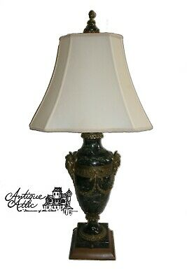 Antique Neoclassical Green Marble Lamp With Gilt Bronze Masks Swag Office Desk