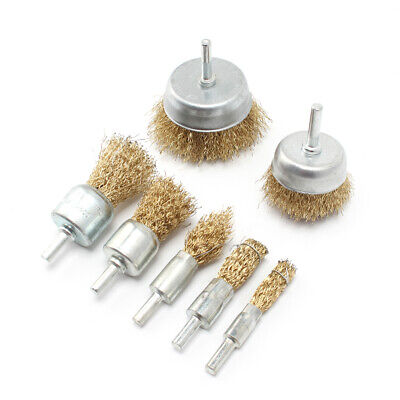 """7Pcs/Set 16-75mm Brass Coated Steel Wire Brush Wheel Cup Brush With 1/4"""" Shank"""