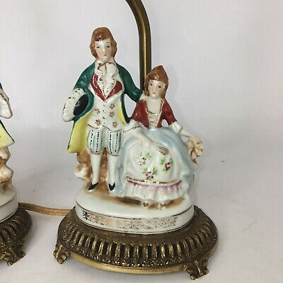 Vintage Pair of French Couple Accent Lamp Decor Figurine  Dresser Lamp 2 Lamps