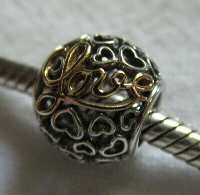 """Authentic Pandora Two Tone 925 &14K Gold Openwork """"Love"""" Charm Bead Spacer"""