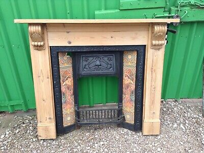 Antique Cast Iron Tiled (two damaged) Fireplace