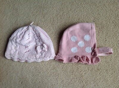 NEW 2 x Baby Girls Pink Hats from Next, Age 3-6 Months & 6-12 Months