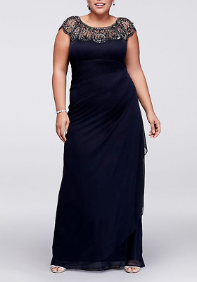 5668311f XSCAPE Plus Size Illusion Beaded Gown MSRP $229 Size 18W # 3B 733 NEW