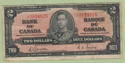 1937 Bank of Canada 2 Dollar Note - Gordon/Towers - J/B3024825 - VG