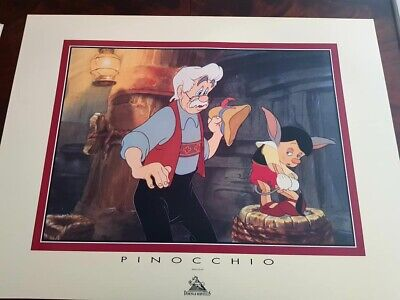Affiche offset de collection Pinocchio et Gepetto Walt Disney neuve