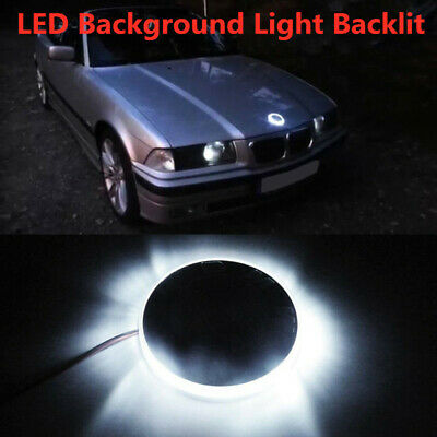 1x Xenon White Emblem LED Background Light 82mm For BMW 1 3 5 7 Series X3 X5 X6